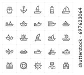 mini icon set   boat and ship... | Shutterstock .eps vector #697623064