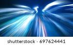 speed light trace from night... | Shutterstock . vector #697624441