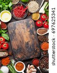various spices and herbs on... | Shutterstock . vector #697625341