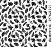 tropical leaves seamless...   Shutterstock . vector #697628824