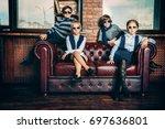 group of modern children posing ... | Shutterstock . vector #697636801