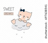 cute cat on the cloud  pretty... | Shutterstock .eps vector #697638541