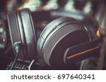 big black dj headphones in... | Shutterstock . vector #697640341