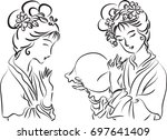 ancient chinese ladies | Shutterstock .eps vector #697641409