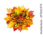 thanksgiving day greeting card. ...   Shutterstock .eps vector #697641574