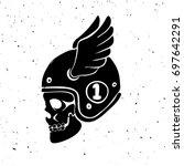 hand drawn rider skull with... | Shutterstock .eps vector #697642291