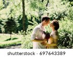 beautiful hipster couple of... | Shutterstock . vector #697643389