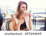 young beauty girl posing in...   Shutterstock . vector #697644649