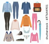 lady fashion set of autumn... | Shutterstock .eps vector #697644901