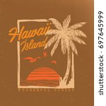 tropical sunset. surf and beach.... | Shutterstock .eps vector #697645999