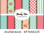 set of 12 cute seamless shabby... | Shutterstock .eps vector #697646125
