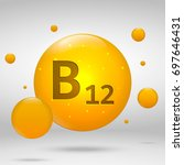 vitamin b12 gold icon.... | Shutterstock .eps vector #697646431