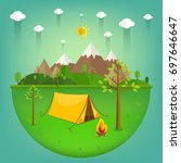 summer landscape. morning... | Shutterstock .eps vector #697646647