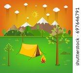 summer landscape. morning... | Shutterstock .eps vector #697646791