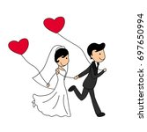 wedding doodle couple  bride... | Shutterstock .eps vector #697650994