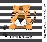 Stock vector cute tiger cartoon vector illustration 697653049