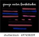 set of vector brush strokes ... | Shutterstock .eps vector #697658209