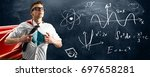 school superhero standing... | Shutterstock . vector #697658281