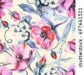 poppies seamless pattern ... | Shutterstock . vector #697661521