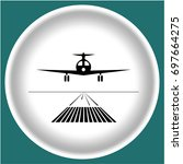 icon black landing plane on... | Shutterstock .eps vector #697664275