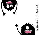 two screaming monster set.... | Shutterstock .eps vector #697666621