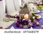 wedding banquet table in white... | Shutterstock . vector #697668379