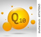 coenzyme q10 gold icon. choline ... | Shutterstock .eps vector #697670065