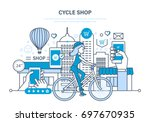 cycle shop concept. process of... | Shutterstock .eps vector #697670935