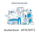 protection delivery concept.... | Shutterstock .eps vector #697670971
