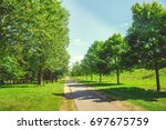 forest park with a pond in the... | Shutterstock . vector #697675759