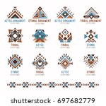 aztec tribal ethnic ornaments... | Shutterstock .eps vector #697682779