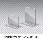 acrylic table tent  card holder ... | Shutterstock .eps vector #697684231