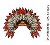 west navajo injun man chieftain ... | Shutterstock .eps vector #697684699