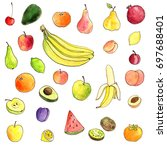 watercolor drawing fruits  hand ... | Shutterstock . vector #697688401