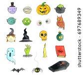halloween doodle set ... | Shutterstock . vector #697689349