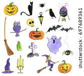 halloween doodle set ... | Shutterstock . vector #697689361