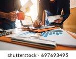 businessman making presentation ...   Shutterstock . vector #697693495