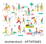 moms spending time happily with ... | Shutterstock .eps vector #697693681