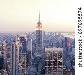 new york   april 14  empire...   Shutterstock . vector #697695574