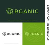 vector set of organic logo with ... | Shutterstock .eps vector #697700395