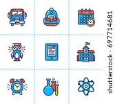 collection of line icons  back... | Shutterstock . vector #697714681