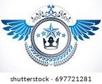 winged classy emblem  heraldic... | Shutterstock . vector #697721281