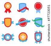 flat badge set. label banner ... | Shutterstock . vector #697723051