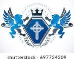 classy emblem  heraldic coat of ... | Shutterstock . vector #697724209