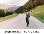 young man in trendy hat... | Shutterstock . vector #697724251