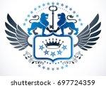 heraldic sign created using... | Shutterstock . vector #697724359