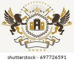 heraldry emblem composed with... | Shutterstock . vector #697726591