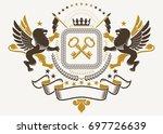 luxury heraldic emblem template.... | Shutterstock . vector #697726639