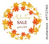autumn sale banner with fall... | Shutterstock .eps vector #697727401