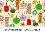 seamless pattern with vector... | Shutterstock .eps vector #697727875